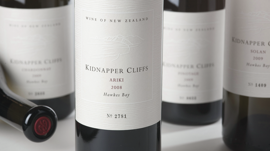 Kidnapper Cliffs brand and wine packaging designed by Mark Adams Brand Stories.